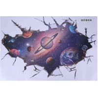 3D Cosmic Space Galaxy Pattern Wall Sticker for Kids Room Home Floor Decal