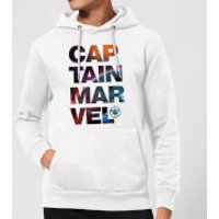 Captain Marvel Space Text Hoodie - White - S - White