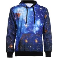 New Fashion 3D Space Starry Sky Hooded Sweatshirt Sports Baseball Shirt(S)