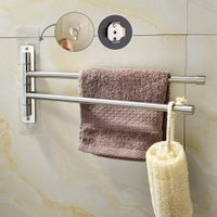 SBH184-2 Brushed Nickel Stainless Steel Self Adhesive Swivel towel Bar Bathroom Towel Rack Swing Hanger Holder Save Space