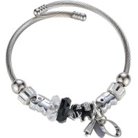 Women Crystal Rhinestones Spacer Beads Dangle Charm Bracelet Bangle(Black)